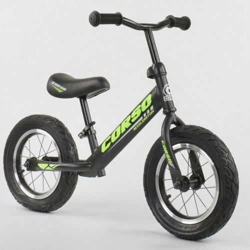 "Беговел CORSO Acceleration 36906 12 ""чорно-зелений"