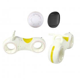 Беговел - каталка TILLY GS-0020, с подсветкой колес, Bluetooth, динамики, Трон-байк, бело-желтый