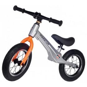 """Беговел Maraton Junior, магниевая рама, колеса 12"""", серебристо-оранжевый"""
