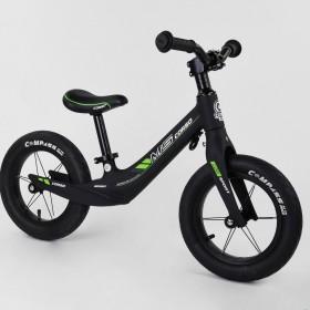 Беговел Corso MG Sport 55960, магниевая рама, подставка для ног, черно-зеленый