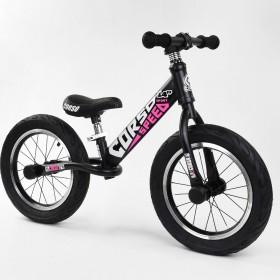 """Беговел Corso Speed Sport 14"""" (велобег), 24561, надувные колеса, черно-розовый"""
