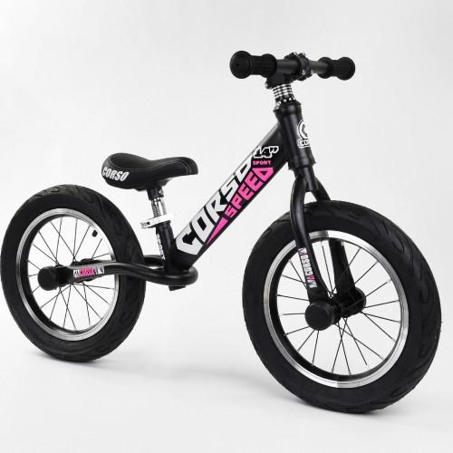"""Біговел Corso Speed Sport 14 """"(велобег), 24561, надувні колеса, чорно-рожевий"""