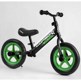 """Беговел Corso Sprint-2 Quick Start Eva 12"""", со стояночной подножкой, черно-зеленый"""