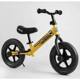 """Беговел Corso Sprint-2 Quick Start Eva 12"""", со стояночной подножкой, желтый"""