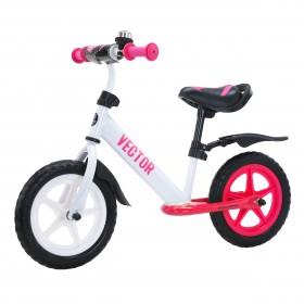 Беговел Tilly Vector, колеса 12 дюймов, пенорезина, усиленный руль, звоночек, бело-розовый