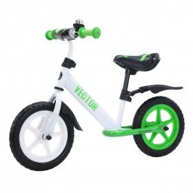 Беговел Tilly Vector, колеса 12 дюймов, пенорезина, усиленный руль, звоночек, бело-зеленый
