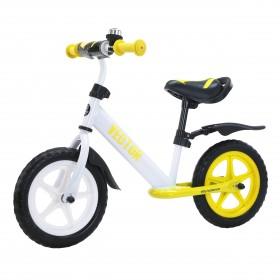 Беговел Tilly Vector, колеса 12 дюймов, пенорезина, усиленный руль, звоночек, бело-желтый