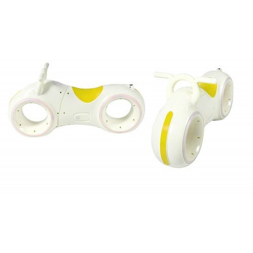 Біговел Cosmo - байк, каталка - толокар, трон байк, з підсвіткою коліс, музикою, біло-жовтий
