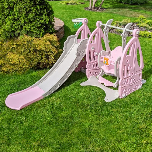 Горка-качель BAMBI Корабль WM19016-8 серо-розовая