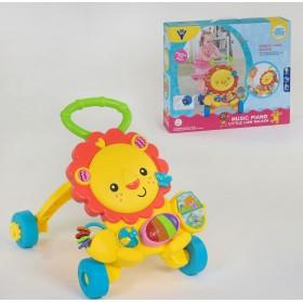 Музыкальная Каталка-ходунки Львенок HY 68108, развивающая игрушка с подсветкой, от 9 месяцев