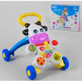 Музыкальная Каталка-ходунки Коровка WD 3783, развивающая игрушка с подсветкой,  от 9 месяцев