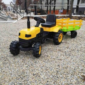 Трактор на педалях BIBEROGLU 2005 с прицепом, желтый