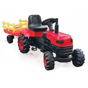 Трактор на педалях BIBEROGLU 2005 с прицепом, красный