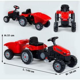Педальний трактор з причепом Pilsan 07-316 червоний