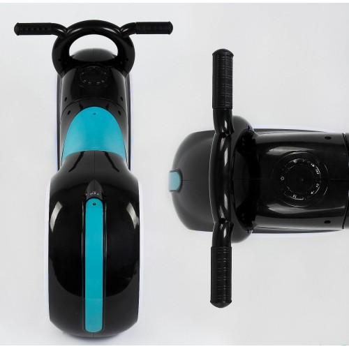 Біговел Cosmo - байк, каталка - толокар, трон байк, з підсвіткою коліс, музикою, чорно-блакитний