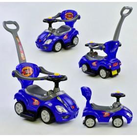 Каталка - толокар, машинка с родительской ручкой, бортиками SuperRide 7008 синяя