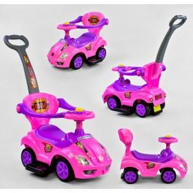 Каталка - толокар, машинка с родительской ручкой, бортиками SuperRide 3545 розовая