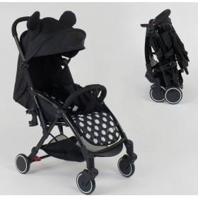 Прогулочная коляска-книжка JOY W 7710 черная в горох