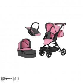 Коляска для ляльки 2в1 CARRELLO AVANTI 9662 з сумкою і кошиком, рожева