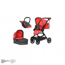 Коляска для куклы 3в1 CARRELLO MAGIA 9636 с сумкой и поворотными колесами, красная