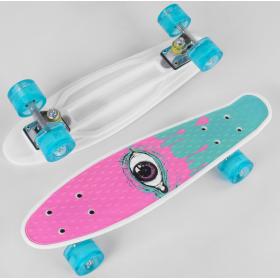 Пенни борд (Penny Board, скейт) Best Board S-29707, сосветящимися колесами, белый