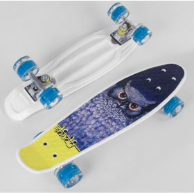 Пенни борд (Penny Board, скейт) Best Board S-29855, сосветящимися колесами, белый