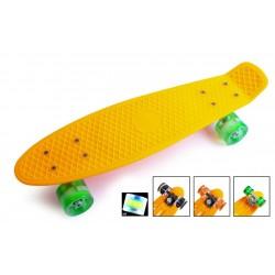 Пенні борд Стандарт 22 (Penny Board Classic) помаранчевий з зеленими колесами, що світяться