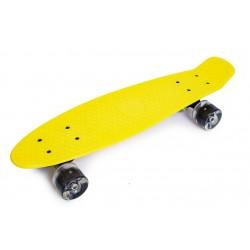 Пенні борд Стандарт (Penny Board Classic) жовтий з чорними колесами, що світяться