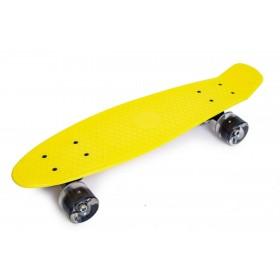 Пенни борд Стандарт 22 (Penny Board Classic) желтый с черными светящимися колесами