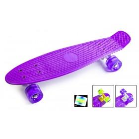 Пенні борд Стандарт (Penny Board Classic) фіолетовий з салатовими колесами, що світяться