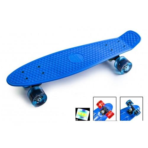 Пенни борд Стандарт 22 (Penny Board Classic) синий с синими светящимися колесами
