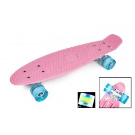 Пенні борд Стандарт (Penny Board Classic) ніжно-рожевий з колесами, що світяться