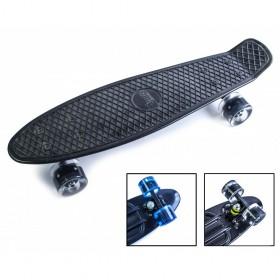 Пенни борд Стандарт 22 (Penny Board Classic) черный с черными светящимися колесами