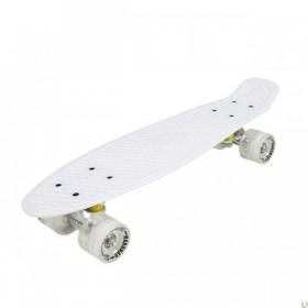 Пенни борд Стандарт 22 (Penny Board Classic) белый со светящимися колесами