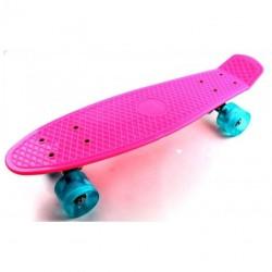 Пенни борд Стандарт (Penny Board Classic) розовый с голубыми светящимися колесами