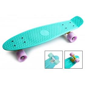 Пенни борд Классик 22 (Penny Board Pastel) бирюзовыйс лиловыми колесами