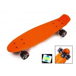 Пенні борд Стандарт 22 (Penny Board Classic) помаранчевий з чорними колесами, що світяться