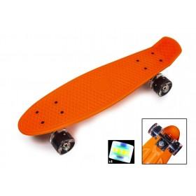 Пенни борд Стандарт 22 (Penny Board Classic) оранжевый с черными светящимися колесами