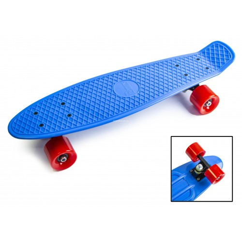 Пенни борд Стандарт 22 (Penny Board Classic) синий с красными колесами