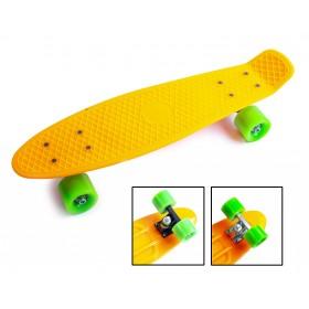 Пенни борд Стандарт 22 (Penny Board Classic) оранжевый с салатовыми колесами