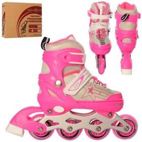 Раздвижные роликовые коньки PROFI A 4138-S (30-35, S) розовые
