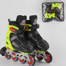 Раздвижные роликовые коньки (Ролики) Best Roller М 90015 (размер 34-37, М) колеса PVC, светящееся, черно-зеленые
