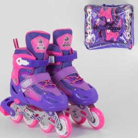 Раздвижные роликовые коньки (Ролики) Best Roller S 10033 (размер 30-33, S) колеса PVC, светящееся, фиолетовые
