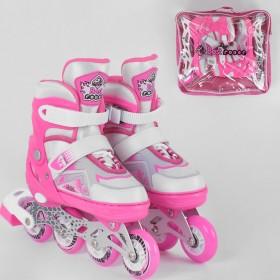 Розсувні роликові ковзани (Ролики) Best Roller М 9225 (розмір 34-37, М) колеса PU, підсвітка колес, рожеві