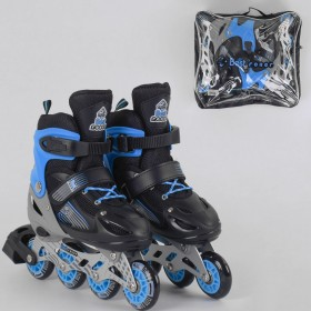 Раздвижные роликовые коньки (Ролики) Best Roller S 20045 (размер 30-33, S) колеса PVC, светящееся, черно-синие