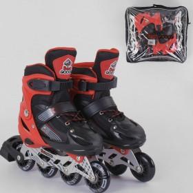 Раздвижные роликовые коньки (Ролики) Best Roller S 40082 (размер 30-33, S) колеса PVC, светящееся, черно-красные