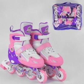 Раздвижные роликовые коньки (Ролики) Best Roller М 60023 (размер 34-37, М) колеса PVC, светящееся, розовые