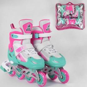 Раздвижные роликовые коньки (Ролики) Best Roller S 60048 (размер 30-33, S) колеса PVC, светящееся, розово-бирюзовые