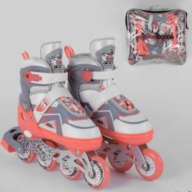 Розсувні роликові ковзани (Ролики) Best Roller М 6056 (розмір 34-37, М) колеса PU, підсвітка колес, коралові