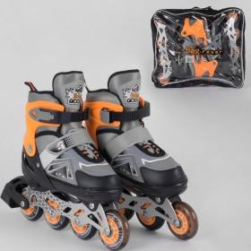 Раздвижные роликовые коньки (Ролики) Best Roller S 6202 (размер 30-33, S) колеса PU, светящееся, серо-оранжевые